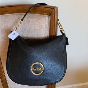 Coach Elle Hobo Pebble Leather Black